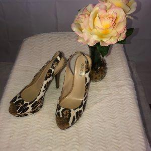 Guess Cheetah print Heels Sz 8M